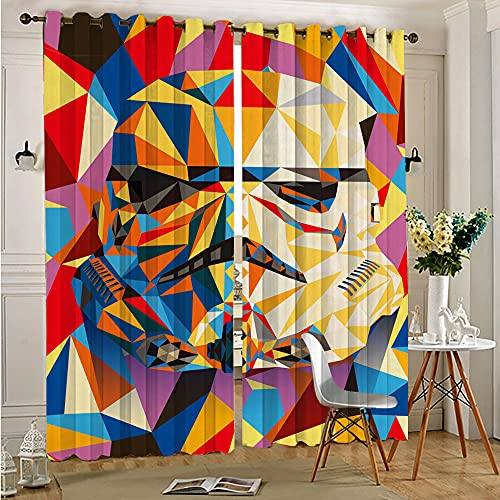 STTYE Star Wars Masked Stormtroopers Abstract Thermal Insulated Curtains Black Out Window Curtain 2 Panel Window Treatment Set 75cmx166cm x 2 pcs