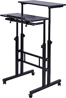 AIZ Mobile Standing Desk, Adjustable Computer Desk Rolling Laptop Cart on Wheels Home Office Computer Workstation, Portabl...