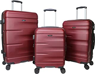 Dejuno Emerson 3-Piece Hardside Expandable Spinner Luggage Set-Burgundy