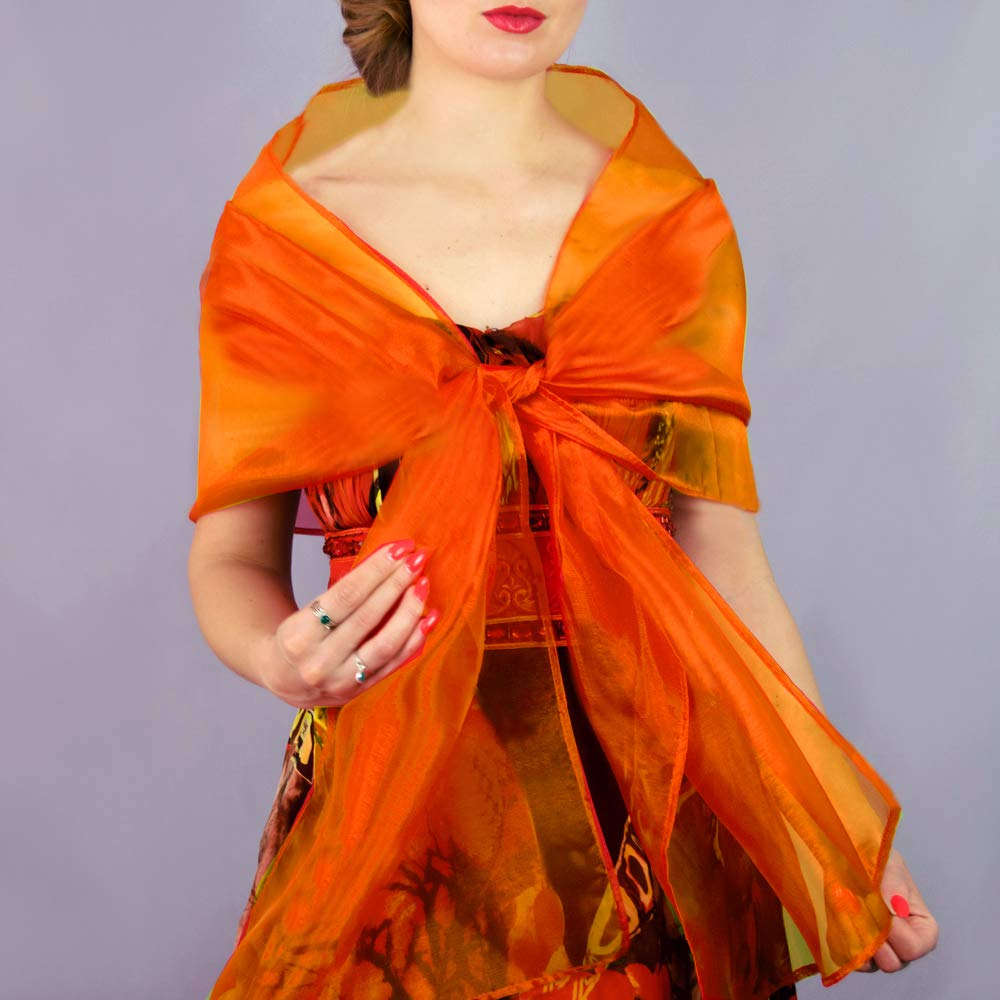 Amazon.com: Organza orange stole wrap shawl evening dress accessory:  Handmade