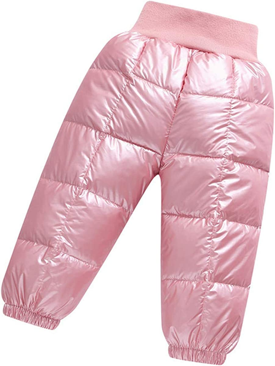 Little Boys Girls Winter Warmer Puffer Down Thick Snow Pants Trousers Windproof Elastic Ski Bib Pants