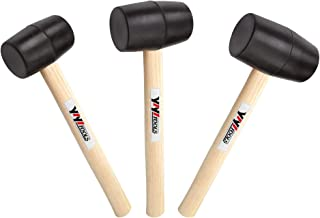 YIYITOOLS Rubber Mallet Set With Wood Handle,3 Piece/8oz,16oz & 24oz,Black,Lightweight and Durable