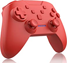Wireless Switch Pro Controller for Nintendo Switch, Remote Gamepad with Motion Vibration Turbo Speed Function and Dual Analog Sticks, 600 mAh Pro Controller (Red)