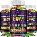 (3 Pack) GPGP Greenpeople Hemp Gummies 60,000mg Extra Strength -180ct - 100% Natural Hemp Oil Infused Gummies, Promotes Focus Calm, Sleep and Calm Mood