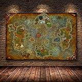 Leinwand Malerei Ungerahmt Die Plakatdekoration Gemälde von World Of Warcraft 8.0 Karte auf HD-Leinwand Wandbilder für Wohnzimmer Ölgemälde 50 * 70cm