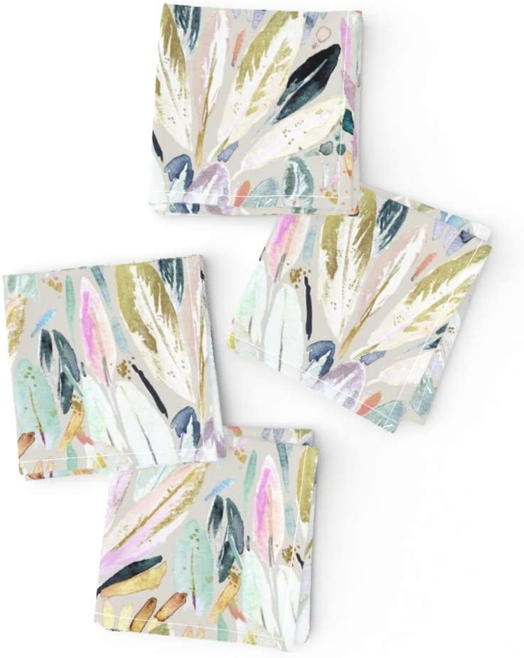 Roostery Spoonflower Cloth Cocktail Brand new Leaves Past outlet Napkins Feather