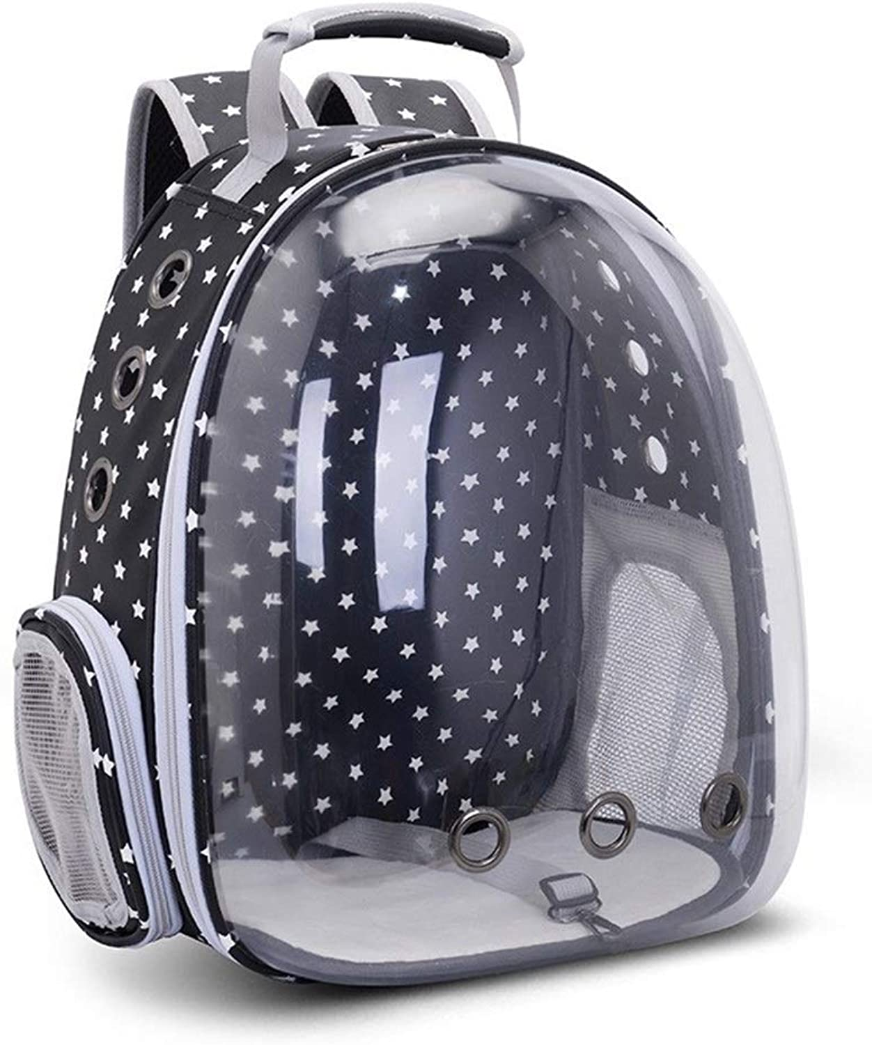 BigShiAUSPICIOUS New Transparent Pet Space Bag Out Portable Dog Bag Cat Backpack (color   Black Stars)