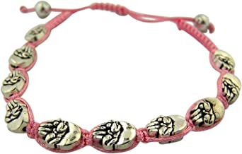 Religious Gifts Silver Tone Fetus Pro Life Medal on Adjustable Cord Bracelet, 8 Inch