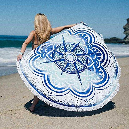 Zanasta XXL Stranddecke 140 cm Outdoor Große Runde Strand Decke und Handtuch für Camping, Strand und Freizeit, Picknickdecke Tuch mit Mikrofaser, Mandala Blauer Stern