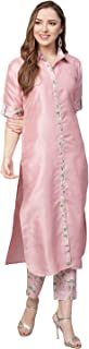 Ahalyaa Women Pink Solid Kurti with Pant