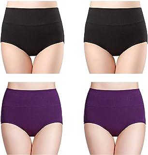 4e4b80832f2 wirarpa Womens Cotton Underwear High Waist Full Coverage Brief Panty  Multipack