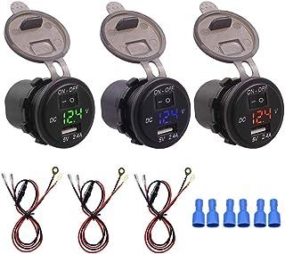 Bil voltmeter digital USB-laddare, 12 V IP66 2,4 A LED digital telefonladdare oberoende växeladapter med 23,6 tum linje (g...