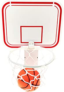 Linkin Sport Office Basketball Hoop Clip for Trash Can Basketball Game Small Basketball Board Clip for Waste Basket in Restroom Bed Room Bathroom and Office (White, 6.3