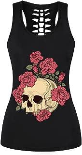 Summer Skull Skeleton 3D Printed Tops Sleeveless Workout Tank Top Women Sexy Top Fitness Vest Punk