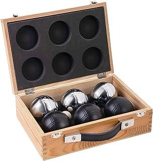 comprar comparacion weiblespiele 010208 - Juego de Bolas de Petanca en Caja de Madera (6 Unidades), Color Negro y Plateado