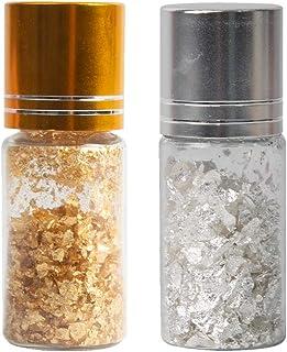 VGSEBA 24 K Edible Gold Leaf Flakes, 50 mg Real Small Genuine Gold Flakes, 50 mg Pure Silver Leaf Flakes for Facial Mask, ...