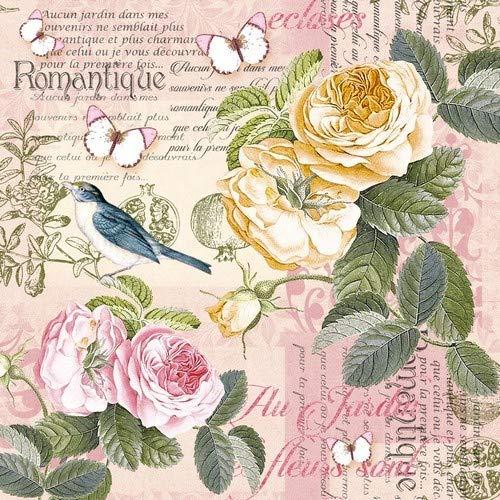 20 Servietten Vintage-Szene an Rosen/Vogel/Schmetterling/Blumen 33x33cm