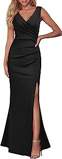 Women Sleeveless V Neck Split Evening Cocktail Long Dress