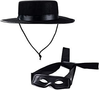 Tigerdoe Zorro Costume - Zorro Hat and Mask - Zorro Accessories - Costume Accessories Black