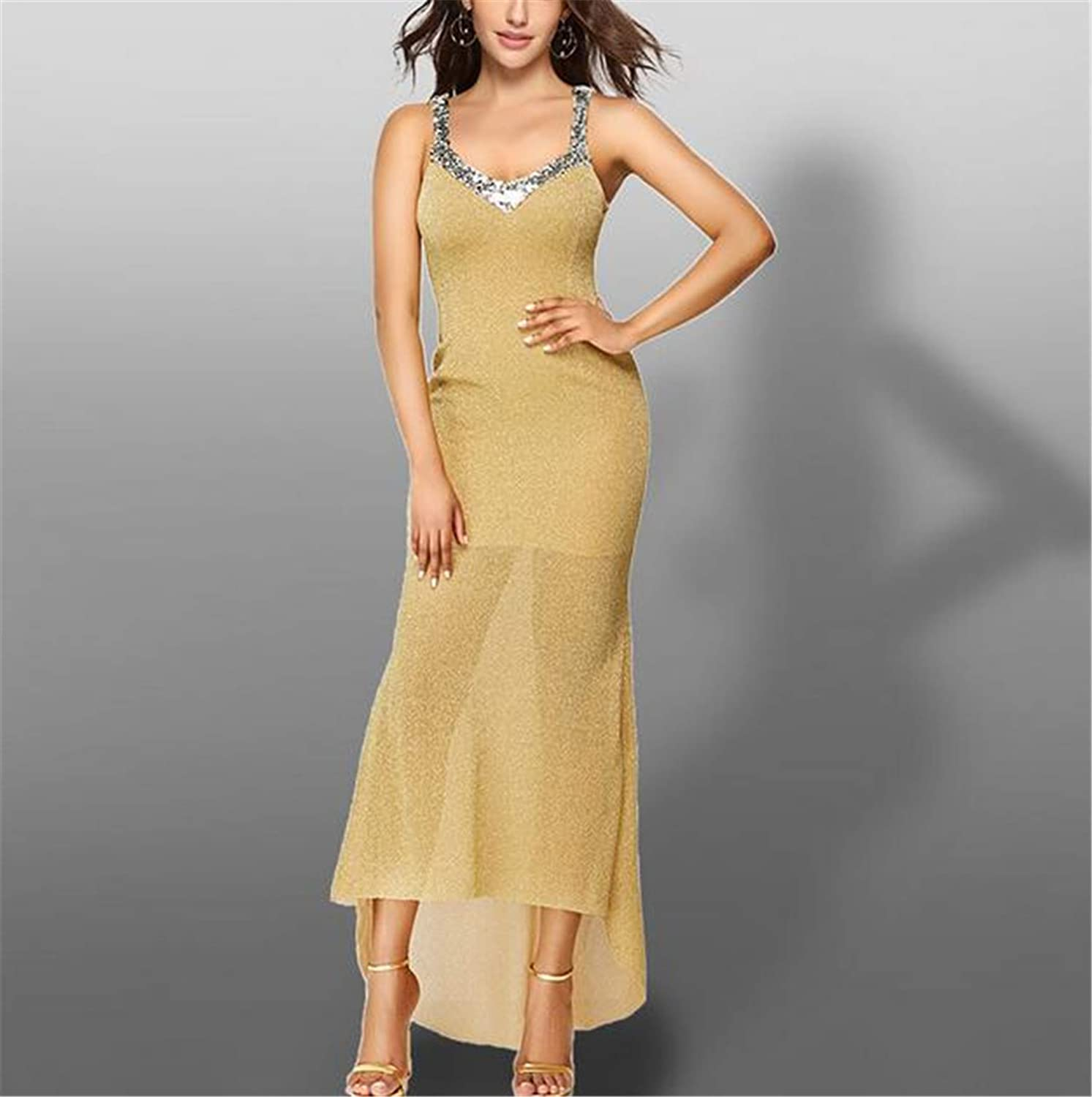 Evening Dress, Sexy Sling Sequin Long Section Open Back Round Neck Elegant Europe and America Bridesmaid Prom Party Cocktail Yellow Dress L