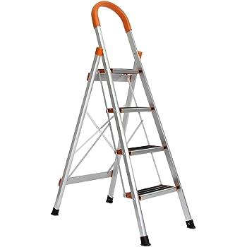 SogesFurniture Escalera de Aluminio antideslizante, Escalera plegable Robusto 4 peldaños, Multifunción Escalera Doméstica Plegable, KS-JF-004-BH: Amazon.es: Bricolaje y herramientas
