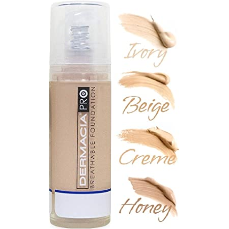 Dermacia PRO Breathable Foundation (Ivory), Dr. Recommended, Hypoallergenic, Long Lasting, Lightweight, Professional Oxygenating Makeup, Best for Sensitive Skin, Acne & Rosacea, Made in USA
