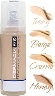 Dermacia PRO Breathable Foundation (Creme), Dr. Recommended, Hypoallergenic, Long Lasting, Soothing, Lightweight, Flawless Coverage, Oxygenating Makeup for Sensitive Skin, Acne, Rosacea Made in USA