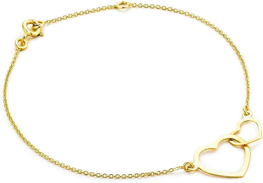 Orovi, bracciale per donna con cuori in oro giallo 9 kt(0,96 gr) OR8983B
