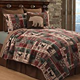 C&F Home Killian Ridge Brown Green Red Lodge Rustic Forest Cabin Deer Bear Cotton 3 Piece King Machine Washable Reversible Quilt Set Bedspread Coverlet King 3 Piece Set Green