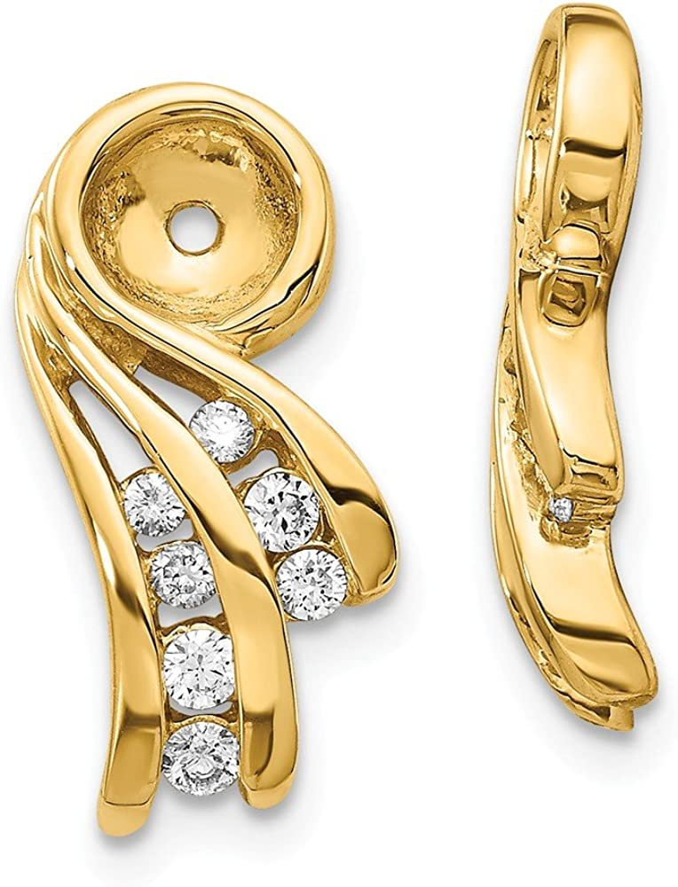 Solid 14k Yellow Gold A Unique Diamond Earring Jacket - 17mm x 8mm (.24 cttw.)