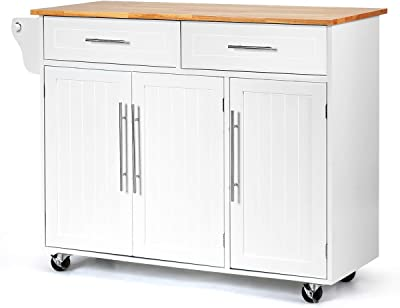 Amazon Com Giantex Kitchen Island Cart Rolling Storage Trolley Cart With Lockable Castors 2 Drawers 3 Door Cabinet Towel Handle Knife Block For Dining Room Restaurant Use White Kitchen Islands Carts
