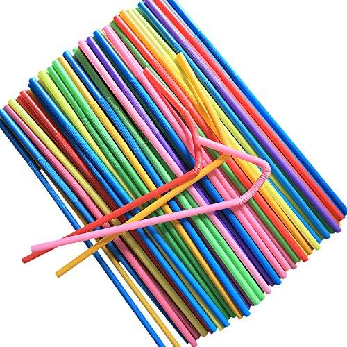 DOTTAVR 100/300/400 pajitas de plástico flexibles flexibles y coloridas sin BPA para el hogar, fiestas, cócteles, salones, bares (100 unidades)