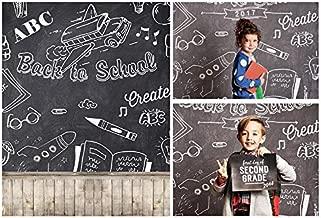 Laeacco 3x5ft Vinyl Thin Photography Backgrounds Chalk Letters Chalkboard Back to School Theme Vintage Wood Floor Backdrop Classroom Studnets Children Photo Backdrop 1x1.5m Studio Props