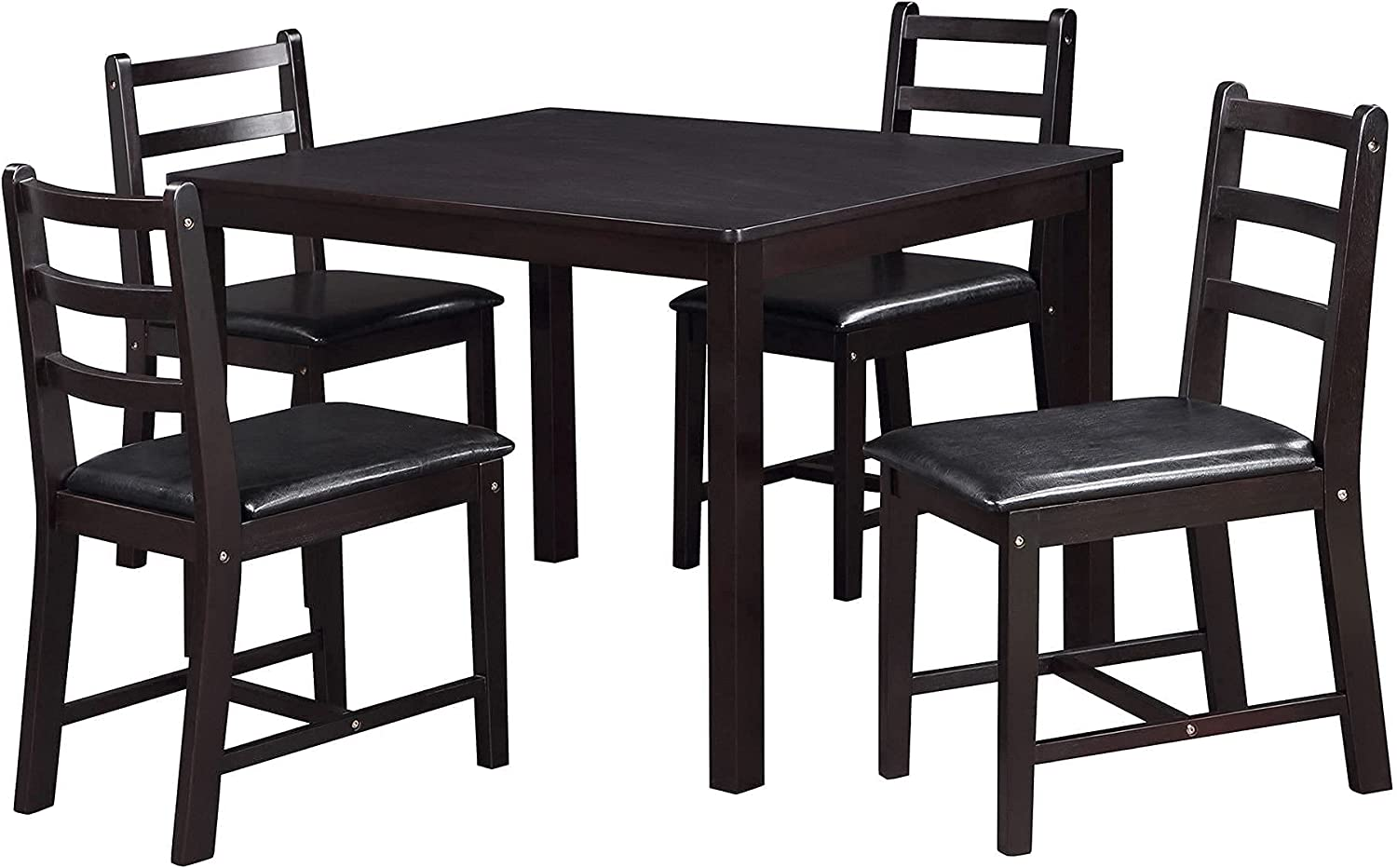 Max 71% OFF Savonnerie Dining Manufacturer OFFicial shop Table Set with 4 Black Chairs Seats Leather PU