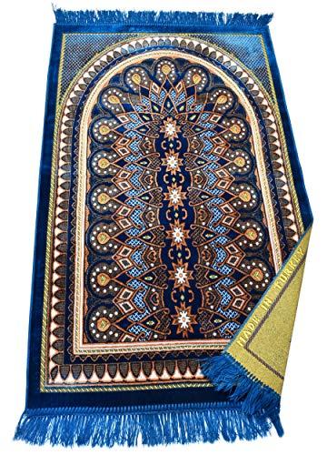 Muslim Prayer Rug Ramadan Gifts Islamic Janamaz Sajadah Namaz Sajjadah Turkish Prayer Mat Carpet (Blue Lite)