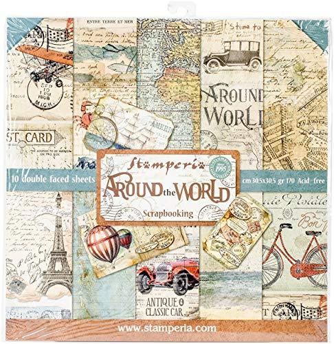 STAMPERIA Kit de Scrapbooking Around The World 30x30cm, Papel, Multicolor, 30.5 x 30.5