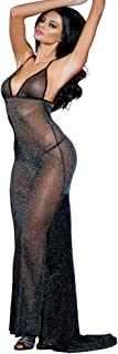 EDENIGHT Sexy Sheer Black Shining Mesh Long Nightgown Deep-V Babydoll Dress