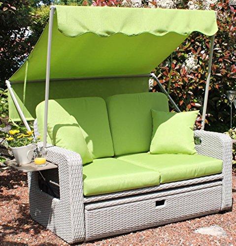 AT Gartenmöbel 2-Sitzer Strandkorb mit Sonnendach Rattan Lounge Möbel grau grün