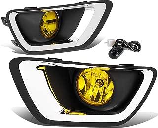 DNA MOTORING FL-ZTL-288-AM Pair Amber Lens Driving Fog Light Lamps w/Chrome Trim Bezel Cover+Switch