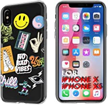 TalkingCase Clear Thin Gel Phone Case for Apple iPhone Xs,Xs,X,Rad Stickers Collage,Light Weight,Ultra Flexible,Soft Touch,Anti-Scratch,Designed and Printed in USA