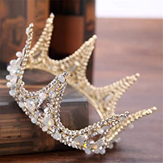 FELICILII Nuziale Copricapo Corona d'oro Full Circle Corona Strass Nuziale Corona Accessori da Sposa