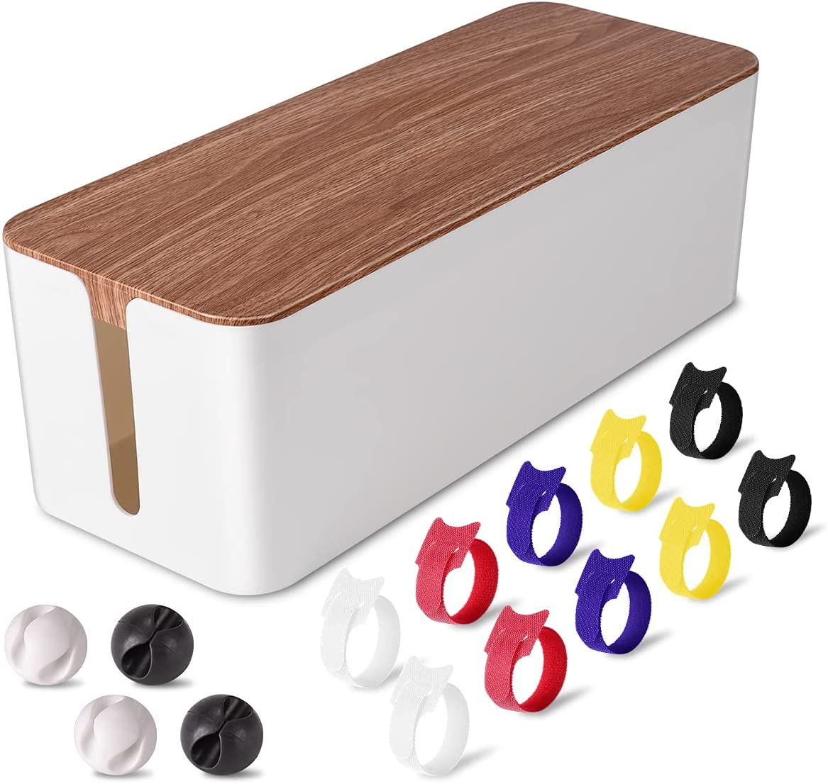 Cable Management Box Large - Wooden Grain Cable Organizer Box to Hide Wires&Power Strips,TV&Desk Computer Wires,with Cable Clips&Reusable Cable Ties for Home&Office(White)