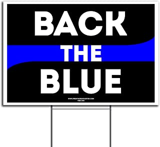 VIBE INK Thin Blue Line Sign Back The Blue Flag Yard Sign 18
