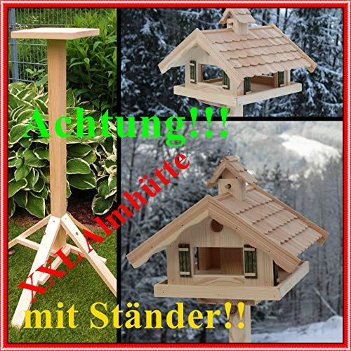 Vogelhaus XXL Almhütte (V87 mit S1) Vogelhäuschen aus Holz Top Design, großes Futtersilo