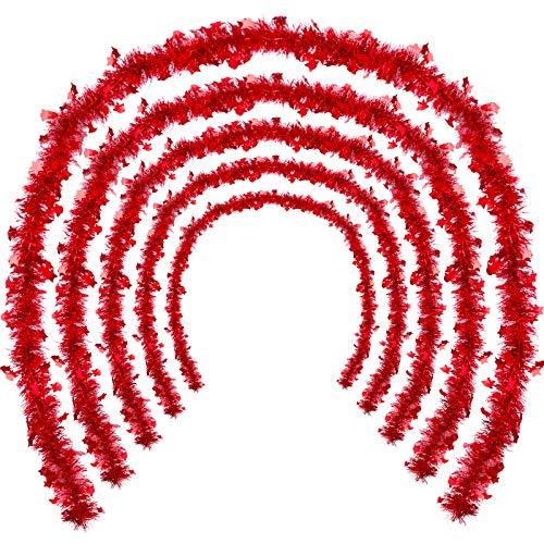 WILLBOND 5 Stück Weihnachten Lametta Girlande Stern Glänzend Glitzer Party Hängende Weihnachtsbaum Lametta Girlande mit Sternen für Weihnachtsbaum Party Dekoration Festliche Verzierung (Rot)