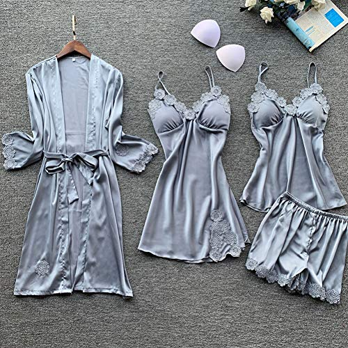 Dames Pyjama,4 Pcs Sets Dames Pyjama Sets Satijnen Nachtkleding Zijden Nachtkleding Pyjama Spaghettibandjes Slaap Lounge Pijama Homewear-Pakken Met Borstkussens