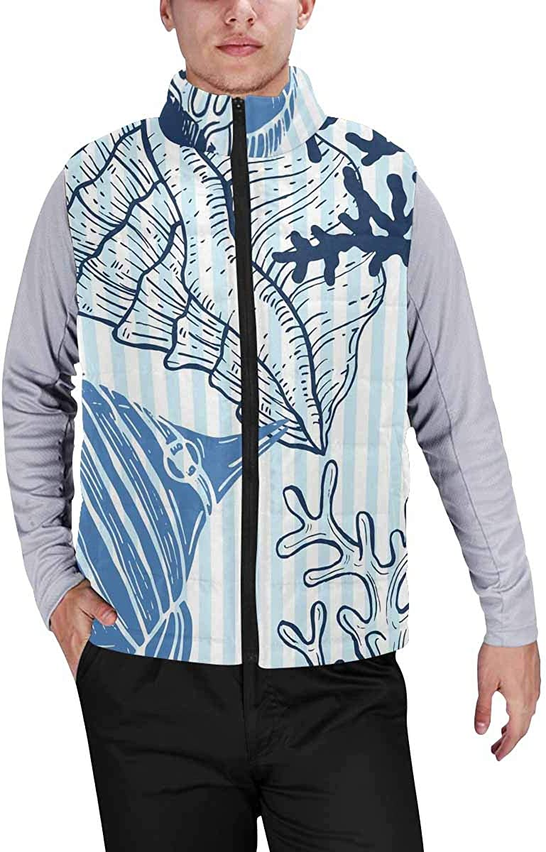 InterestPrint Winter Outwear Casual Padded Vest Coats for Men Pattern with Ladybugs