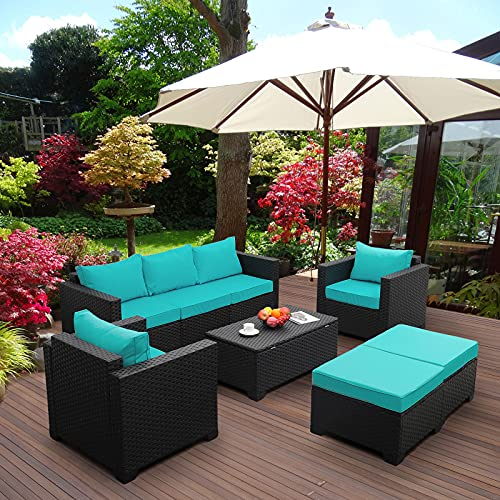 Patio Wicker Furniture Set 6 Pieces Outdoor PE Rattan Conversation Couch Sectional Chair Sofa Set with Turquoise Cushion