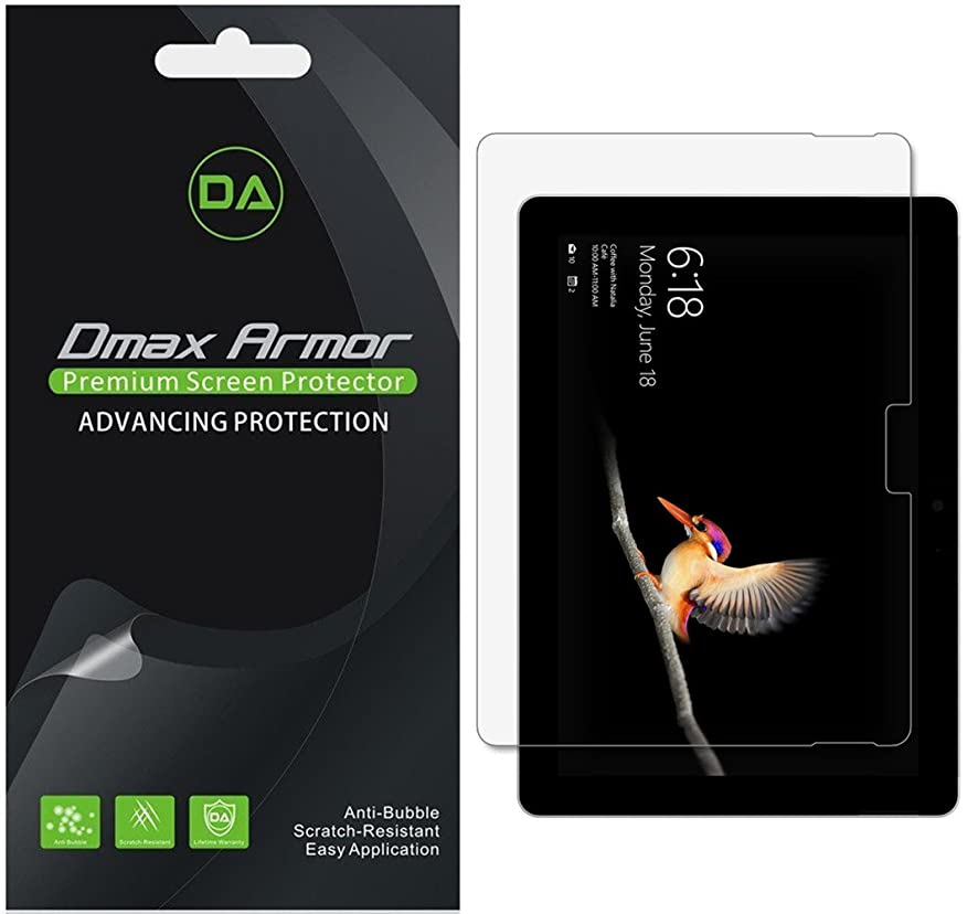 [3-Pack] Dmax Armor for Microsoft Surface Go Screen Protector, High Definition Clear Shield - Lifetime Replacement