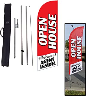 Red Open House Sign for Real Estate Feather Banner Flag Kit with Ground Stake and Travel Bag, Open House Signs for Agents by Feather Flag Nation
